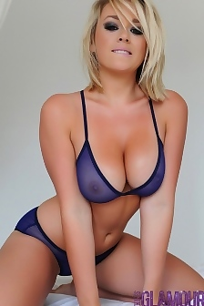 Melissa Strips From Her Blue Lingerie On The Bed
