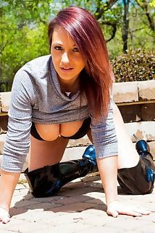 Nikki In High Latex Boots