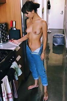 Caitlin Stasey Topless In The Kitchen On Instagram
