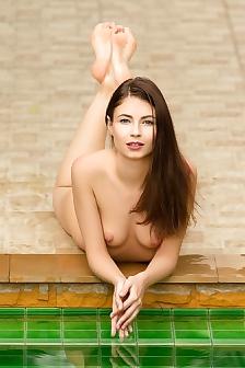 Perky Ukrainian Model Hilary C Naked By The Pool